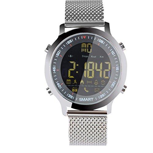 Ansenesna EX18 Smartwatch Sport Bluetooth 5ATM Wasserdichte Uhr Fitness Tracker Radsport Schlafanalyse Puls Gps Armbanduhr (Silber)