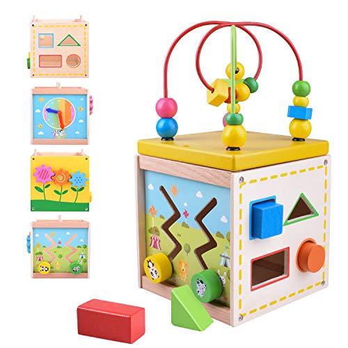 Longruner Aktivitätswürfel Holz Multifunktions Motorikwürfel Motorikspielzeug Spielwürfel auf Spielflächen Sortierblock Schiebespiel Lern-Uhr für Baby Lernspielzeug für Kinder von 1 2 3 Jahren LKD801