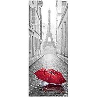 Adhesivo puerta–Paraguas en una calle de París–204x 83cm