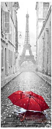 Wandtattoo Tür–Regenschirm in eine Straße von Paris–204x 83cm - Paris-wand-aufkleber