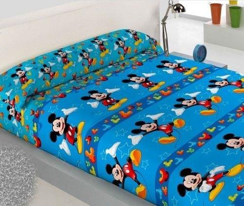 SABANA INFANTIL DE INVIERNO PIRINEO MICKEY MOUSE cama de 90 - Encimera + sábana bajera ajustable + funda de almohada.
