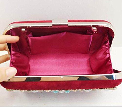 2017 Neue Weibliche Paket Hardware Diamant Hochwertige Bankett Tasche Abendessen Handtasche Redwine