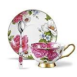 Panbado Floral Kaffeetassen aus Premium Bone China Porzellan, Beinhaltet 1 Tassen 200 ml, 1 Untertassen, und 1 Löffel