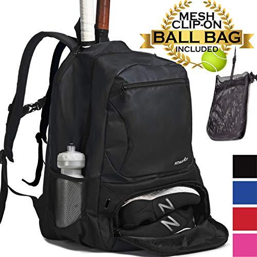 Athletico Premier Tennis-Rucksack - Tennistasche für 2 Schläger im gepolsterten Fach, Separates belüftetes Schuhfach, Tennis-Taschen für Damen und Herren, schwarz