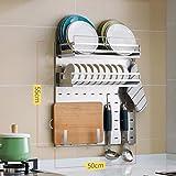 LXLA- 304 Scaffali da cucina in acciaio inox a parete scolapiatti Scaffale per piatti Condimento Forniture Scaffale di stoccaggio Gancio appeso Scaffale multifunzionale Organizzatore 55 * 50 cm ( Colore : Package C )
