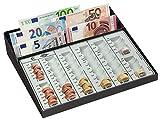 Wedo 160958049 - Caja de monedas con compartimiento de billetes y tira fija con ranura para monedas, 270 x 255 x 65 mm, negro / blanco