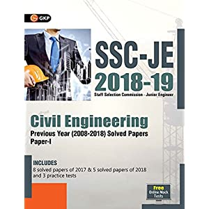 SSC JE Civil Engineering for Junior Engineers Previous Year Solved Papers (2008-18), 2018-19 for Paper I
