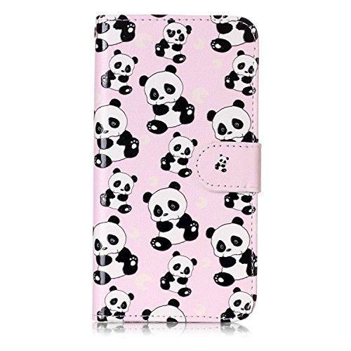 inShang Custodia per iPhone X 5.8 inch con design integrato Portafoglio, iPhoneX 5.8inch case cover con funzione di supporto. Panda