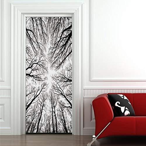 asfrata265 Schwarzwald Winter Zweige Tür Aufkleber Halloween Türen Wanddekoration Aufkleber Interessante Dekoration Zubehör 95X215 cm