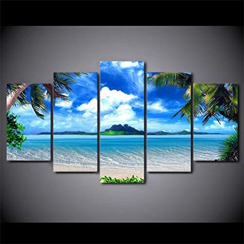 TMMTO Leinwandbild 5 Teilig Dekor Zimmer Wandkunst Palmen Blauer Himmel Weiße Wolke Meer Szene Gemälde Poster Modulare Bilder Leinwand Hd Drucke Rahmen-A