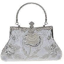 niceEshop(TM) Bolsa Bolso de Rosa Flor Retro Antigua de Embrague de la Noche de Fiesta para Mujer