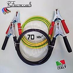 CAVI BATTERIA AUTO CAMPER FURGONE TIR CAMION TRATTORI IN RAME 70 mm² 400 A PROFESSIONALI PINZE IN ACCIAIO ZINCATO GIGANTI 5 METRI