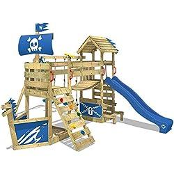WICKEY Aire de jeux en bois GhostFlyer Tour dŽescalade pour jardin équipement de jeux balançoire, mur dŽescalade et bac à sable, toboggan bleu