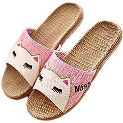 hysxm Zapatillas De Lino Zapatos De Playa De Verano para Mujer Zapatos De Chanclas De Gato Lindo Diapositivas Transpirables Mujer Zapatillas De Lino De Interior Sandalias Femeninas A1,35