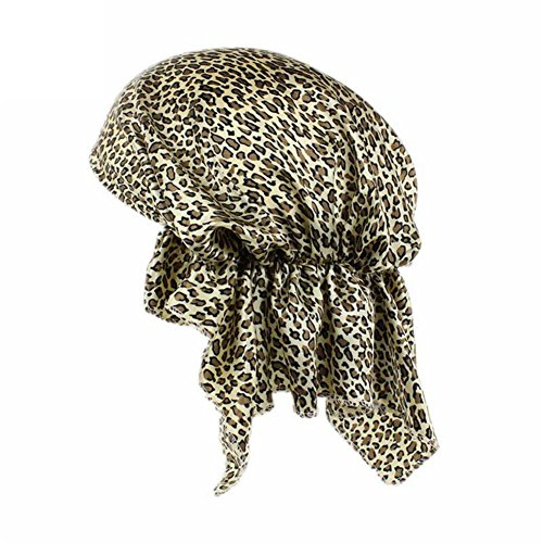 Blue Vessel Frauen Satin Stretch Turban Hut Chemo Haarausfall Bonnet Cap Kopf Wrap Cover (Leopard) (Stretch-satin Leopard)