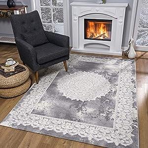 SANAT Teppiche für Wohnzimmer - Teppich Grau, Kurzflor Orientteppich, Öko-Tex 100 Zertifiziert, Größe: 160x220 cm