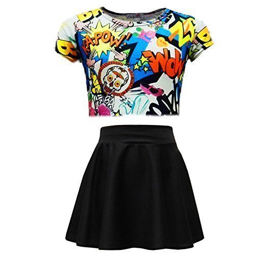 A2Z 4 Kids®Kinder Mädchen Comic Graffiti BANG Aufdruck - Comic Crop & Skater Skirt Set ()