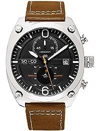 So & Co New York Hombre Aviator Style reloj cronógrafo, esfera de color negro, con toques de color blanco y rojo, 5285.1
