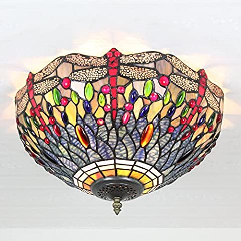 16 Inch Vintage Pastoral Dragonfly Stained Glass Ceiling Lamp Pendant Lamp Living Room Light Hallway Lamp