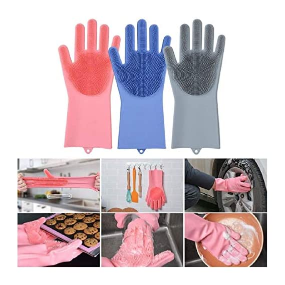 Freshine Silicone Non-Slip, Dishwashing and Pet Grooming, Magic Latex Scrubbing Gloves for Household Cleaning Great for Protecting Hands (Standard Size, Multicolour)