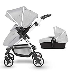 Silver Cross Wayfarer Pushchair and Carrycot, Platinum Cosatto Includes - Pushchair, Carrycot, Port Car seat, Footmuff, Changing bag and Raincover Suitable from birth up to 15kg (4 years approx.) 'In or out' facing pushchair seat lets them bond with you or enjoy the view. 10