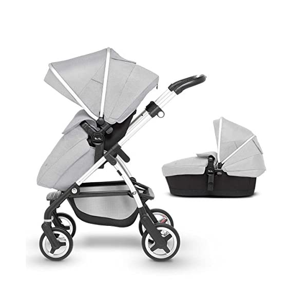 Silver Cross Wayfarer Pushchair and Carrycot, Platinum Silver Cross A complete Pram system that includes everything you need from birth to toddler Includes a lie-flat Carrycot for your new born that is suitable for overnight sleeping Includes a fully, reversible Pushchair seat unit, suitable up to 25kg 1