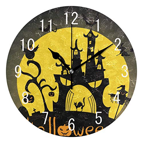 Use7 Home Decor Wanduhr, Halloween-Silhouette von Katze, Eule, Vogelscheuche Hexe, rund, Acryl, Nicht tickend, geräuschlose Uhr, Kunst für Wohnzimmer, Küche, Schlafzimmer