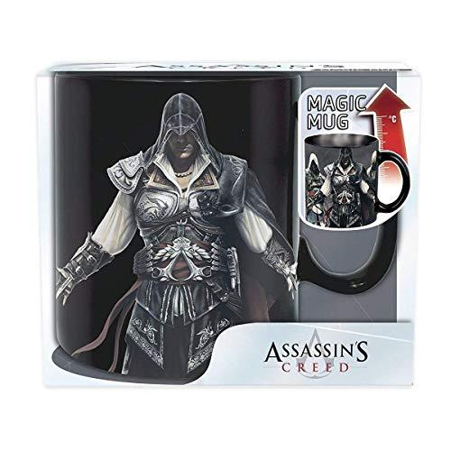 (Assassins Creed - Keramik Thermoeffekt Tasse Riesentasse 460 ml - Die Bruderschaft & Logo - Geschenkbox)