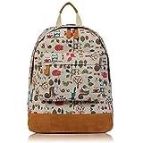 mochila de lona de ropa de cama de rojo y verde y marrón de zorros de ropa de descanso para niñas diseño de pájaros de ardillas de mochilas escolares con
