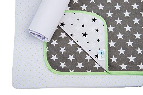 Sábanas para Cuna BabyCareGuru - Ropa de Cuna - 2 Sábanas Ajustables de Jersey de Algodón Suave (45X90cm) y 1 Manta Reversible (80X100cm) - Llamativo Diseño Unisex - Ideal para Cunas/Cam