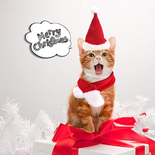 Hund Katze Santa Hut/Haustier Santa Hut Schal Weihnachten Kostüm Schalldämpfer Cosplay Kostüme Hundebekleidung Winter für Welpen Kätzchen Kleine Katzen Hunde Haustiere Liebenswert und - Kostüm Für Katzen Kätzchen