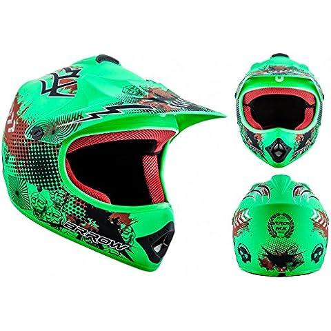 ARROW AKC-49 Limited Green Casco Moto-Cross MX Pocket-Bike Scooter Racing Motocicleta NINOS Junior Helmet Cross-Bike Off-Road Sport Kids Quad Enduro, DOT Certificado, Incluyendo Bolsa de Casco , Verde fosforescente, L (57-58cm)