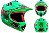 "Armor · AKC-49 ""Limited Green"" (green) · Cross casque pour enfants · Sport MX Pocket-Bike Cross-Bike Kids Enduro · DOT certifié · Click-n-Secure™ Clip · Sac fourre-tout · XS (51-52cm)"