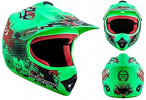 ARROW AKC-49 Limited Green Cross Casque pour enfants Kids MX Helmet Enduro Sport Cross-Bike Junior Pocket-Bike Kids, DOT certifiés, compris le sac de casque, Vert (Limited Green), M (55-56cm)