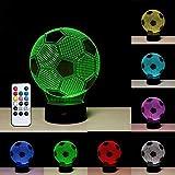 3D Fußball LED Schlafzimmer Lampen, kreative 3D Illusion Fußball-Effekt 7 Farben ändern Kunst Skulptur Lichter,Touch Tisch Schreibtischlampe,Weltmeisterschaft Schönes Geschenk Spielzeug Bar Dekorationen