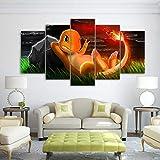 LBHE 5 Pièces Moderne Art Mural Toile Modulaire Art Pokémon Impression Toile Peinture Maison Décoration pour Chambre d'enfants Contemporain 40x60x2+40x80x2+40x100x1 b...