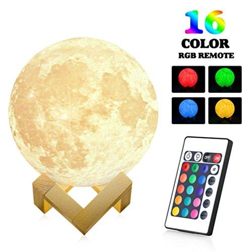 eraufladbare Fernbedienung 3D Printing Moon Lampe 16-Farb-Modus ändern Nacht Stimmung Licht Romantische Schreibtischlampe Mondlicht für Baby Kinder Freund Gegenwart und Home Xmas Dekoration (15cm) (Thanksgiving Hof Dekorationen)
