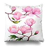 yiyuanyuantu Decorativepillows Case Throw Pillows Covers for Couch/Bed 18 x 18 inch,Watercolor Botanical Magnolia Flowers Green Leaves Spring Nature Sofa Cushion Cover Pillowcase Bed Car Living Home