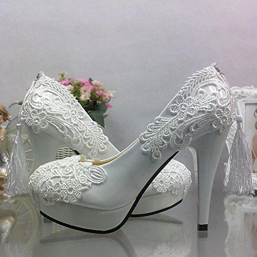 JINGXINSTORE Pizzo Vintage infiorescenza staminifera Wedding scarpe con acqua alta testa tonda bocca poco profonda sposa abito scarpe singolo Bianco