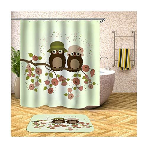 ANAZOZ Duschvorhang+Badematte Set Wasserdicht, Anti Schimmel, Umweltfreundlich Waschbar mit 12 Duschvorhangringen Polyester Zwei Eule Badvorleger Badezimmerteppich Bunt 90X180CM A1046
