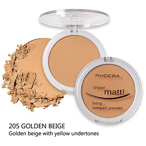 Gaddrt PHOERA Powder Concealer Matte Pearl Finishing Powder Pressed Powder 8 Farben Pulverkuchen (E) -