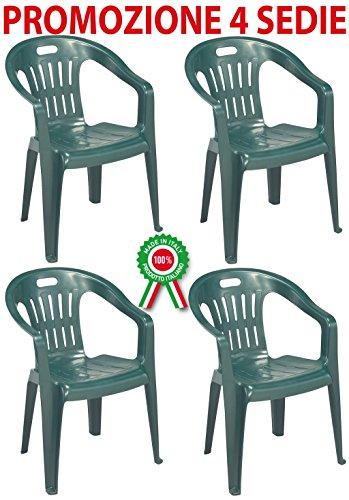 Progarden diva 4 pz poltrona sedia piona in dura resina di plastica impilabile con braccioli per casa giardino bar sagra campeggio, verde