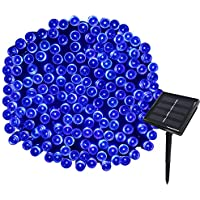 Yasolote 22M Guirnalda de Luces Solares 8 Modos 200 LED Luces de Navidad de Exterior Impermeables para Decorar Patio, Jardín, Terraza, Boda, Fiesta, Navidad (Azul)