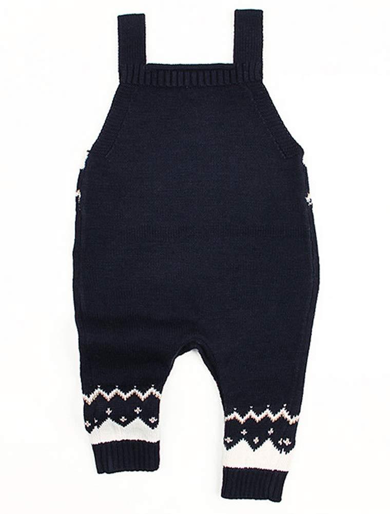 Odziezet Navidad Peleles Mono de Punto Bebé Pantalones con Peto Rojo Azul Invierno Recién Nacido 0-1años 2