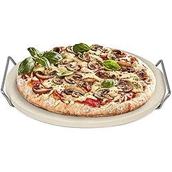 Rustler - Pierre à pizza / Pierre à Pain - Ronde ø38 cm avec Châssis en Acier - Pour Pizzas, Tartes flambées, Pain frais, Petits pains, Quiches et Gâteaux - Fours, Barbecues à charbon et à gaz