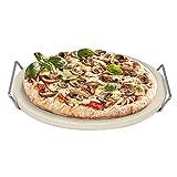 Rustler Pietra Refrattaria per Pizza / Pietra Ollare per Forno e Barbecue da ø33 cm con Supporto e Manici in Acciaio Inox  adatta a Griglia a Gas e Carbonella
