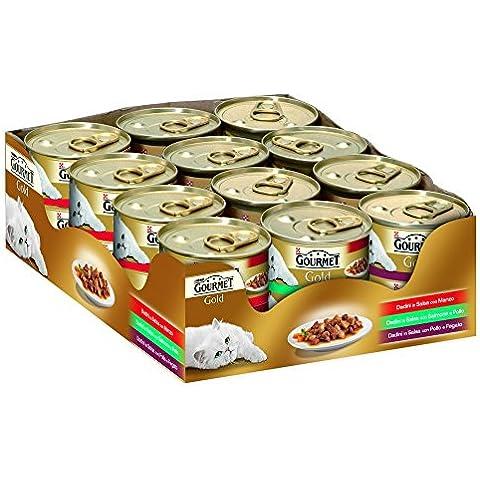 GOURMET GOLD Bandeja tacos en salsa 3 sabores grx85 pz 24 Comida mojado de gatos
