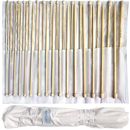 Set aus 32 Bambus-Stricknadel von Curtzy - 16 Paar Holzstricknadeln mit Kostenloser Aufbewahrungstasche - Ideal für Pullover, Spitzen und Blumen-Projekte - Das Beste Set für Anfänger und Profis -