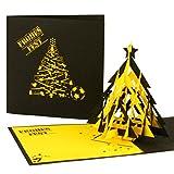 """3D Pop Up Karte """"Fußball - Weihnachten in Schwarz & Gelb"""" Weihnachtskarte mit Tannenbaum für Fußball Fans in Dortmund, Aachen …"""