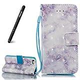 Schutzhülle für iPhone 5s Blau,Slynmax Marmor Glitter Flip Wallet Case Handyhülle für iPhone SE/iPhone 5 Tasche Klapphülle Hardcase Brieftasche Lederhülle Stand Kartenfächer Magnetverschluss Shell